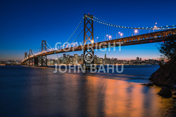 Oakland Bay Bridge/San Francisco Skyline at Civill Twilight