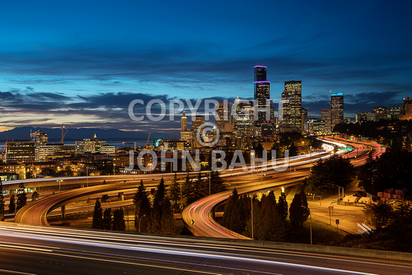 Seattle from Dr. Jose Rizal Park at Civil Twilight