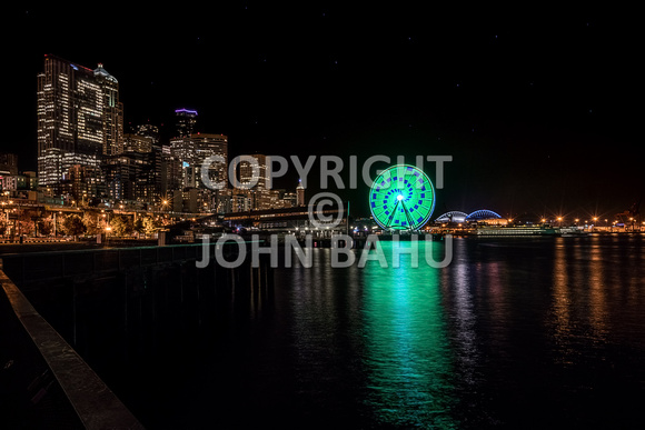 Seattle Skyline/Great Wheel from Pier 62 at Night 3